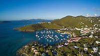 Aerial view of Cruz Bay<br /> St. John<br /> US Virgin Islands