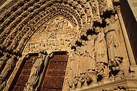 Portal of the Last Judgement, west façade?s central portal, 1220 ? 1230, Notre Dame de Paris, 1163 ? 1345, initiated by the bishop Maurice de Sully, Ile de la Cité, Paris, France. Picture by Manuel Cohen