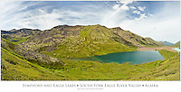 Symphony and Eagle Lakes, Chugach Mountains, and South Fork Eagle River Valley from the alpine slopes of Cantata Peak in Chugach State Park in Southcentral Alaska.  Summer. Afternoon.