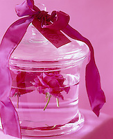 PInk roses floating in a glass jar decorated with a pink ribbon