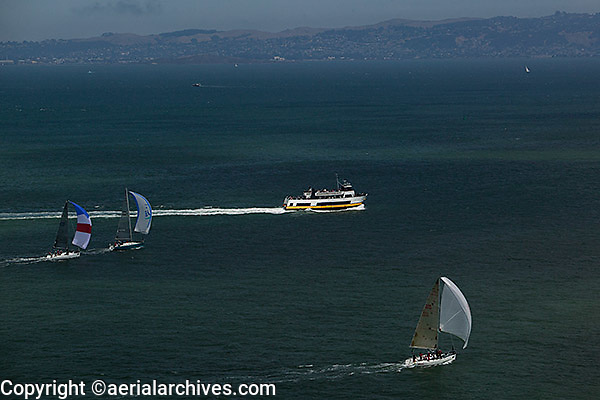 aerial photograph Rolex Big Boat Series sailboat regatta San Francisco bay California