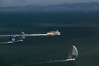 aerial photograph Rolex Big Boat Series sailboat regatta San Francisco bay California