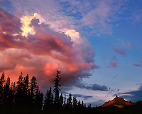 Storm approaching Mt Thielsen in southern cascades Oregon
