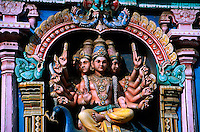 Deities on gopuram (tower) at the Sri Meenakshi (Hindu) Temple, Madurai, Tamil Nadu, India