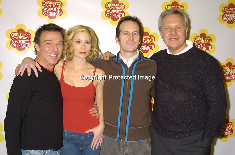 """Wayne Cilento, Christina Applegate and Denis O'Hare and the Director Walter Bobbie ..at a rehearsal for the revival of """"Sweet Charity"""" starring ..Christina Applegate and Dennis O'Hare on January 19, 2005 at the New 42nd Street Studios.  ..Photo by Robin Platzer, Twin Images"""