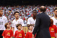 New Jersey Governor Jon S. Corzine shakes hands with United States forward Eddie Johnson (9). The men's national teams of the United States and Argentina played to a 0-0 tie during an international friendly at Giants Stadium in East Rutherford, NJ, on June 8, 2008.