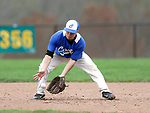 Beacon Falls, CT- 24 April 2017-042417CM04- Crosby's Eli DeJesus braces for a grounder during their baseball matchup against Woodland on Monday.    Christopher Massa Republican-American
