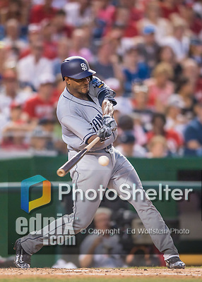 23 July 2016: San Diego Padres starting pitcher Edwin Jackson connects against the Washington Nationals at Nationals Park in Washington, DC. The Nationals defeated the Padres 3-2 to tie their series at one game apiece. Mandatory Credit: Ed Wolfstein Photo *** RAW (NEF) Image File Available ***