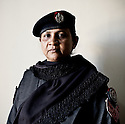Lady police constable Farid Bagam of the West Karachi Police Station.