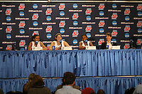 20 March 2006: Rosalyn Gold-Onwude, Brooke Smith, Candice Wiggins and Tara Vanderveer at the post-game press conference with the media during Stanford's 88-70 win over Florida State in the second round of the NCAA Women's Basketball championships at the Pepsi Center in Denver, CO.