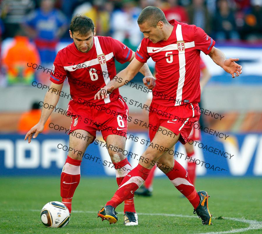 Branislav Ivanovic (6) , Nemanja Vidic (5) Soccer Football - 2010 FIFA World Cup - Group D - Germany v Serbia, Nemacka Srbija,  Nelson Mandela Bay Stadium, Port Elizabeth, South Africa, Friday, June 18, 2010. 18.6.2010 (credit & photo: Pedja Milosavljevic / +381 64 1260 959 / thepedja@gmail.com / STARSPORT )