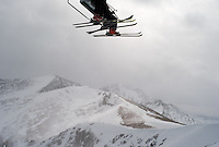 Skiers gain altitude aboard the new Imperial Express lift at Breckenridge, Colo., Friday, Feb. 9, 2007. The new lift is the highest in the U.S., reaching nearly 13,000 feet. (Kevin Moloney for the New York Times)