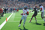 Ole Miss running back Jeff Scott (3) scores vs. Arkansas at War Memorial Stadium in Little Rock, Ark. on Saturday, October 27, 2012. Ole Miss won 30-27...