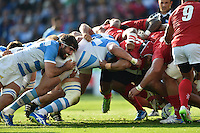 The Argentina and Tonga packs engage at a scrum. Rugby World Cup Pool C match between Argentina and Tonga on October 4, 2015 at Leicester City Stadium in Leicester, England. Photo by: Patrick Khachfe / Onside Images