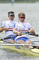 Brandenburg, GERMANY,  GBR BM2- , Bow, Ben SMITH and Charles BURKITT, move away from the start at the 2008 FISA U23 World Rowing Championships, {idow], {date}, [Mandatory credit: Peter Spurrier Intersport Images].... Rowing Course: Brandenburg, Havel Rowing Course, Brandenburg, GERMANY