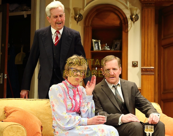 LONDON, ENGLAND - Nicholas Le Prevost as 'Frank Foster', Matthew Cottle, as 'William Featherstone' and Gillian Wright as 'Mary Featherstone' in 'How The Other Half Loves' Photocall at the Theatre Royal Haymarket, London on March 30th 2016<br /> CAP/ROS<br /> &copy;Steve Ross/Capital Pictures