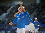 St Johnstone v St Mirren....21.03.15<br /> Brian Graham celebrates his goal with Dave Mackay<br /> Picture by Graeme Hart.<br /> Copyright Perthshire Picture Agency<br /> Tel: 01738 623350  Mobile: 07990 594431