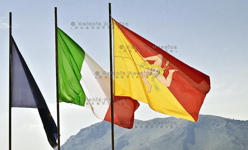 Bandiere all'ARS di Palermo.<br /> Sicilian and Italian flags.