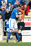 St Johnstone v Dundee United...19.04.14    SPFL<br /> James Dunne scuffles with Gary Mackay-Steven<br /> Picture by Graeme Hart.<br /> Copyright Perthshire Picture Agency<br /> Tel: 01738 623350  Mobile: 07990 594431