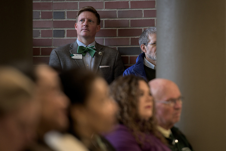 Tim Binegar, Director of Development for the Patton College of Education, attends the ribbon cutting ceremony for the Gladys W. and David H. Patton College of Education's newly renovated McCracken Hall was held on January 27, 2017.