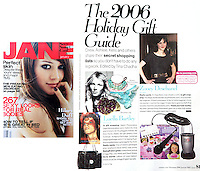Jan 01, 2006 - Los Angeles, CA, USA - JANE Magazine January 2006 issue featured my photo of Actress Zooey Deschanel in a vintage dress at a Harry Winston opening in LA for a Holiday Gift guide article..(Credit Image: © Marianna Day Massey/ZUMA Press)