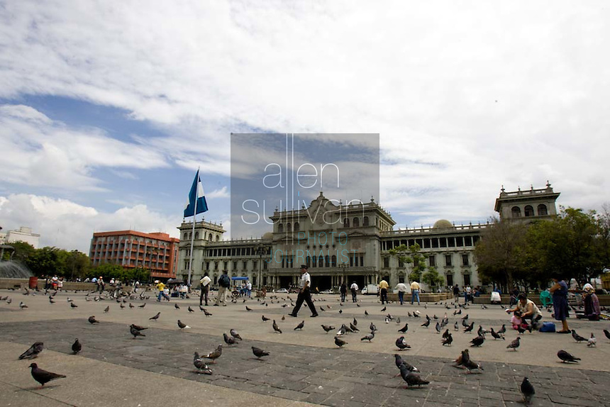 Plaza de la Constitucionalidad and the Palacio Nacional in Guatemala City, Guatemala.