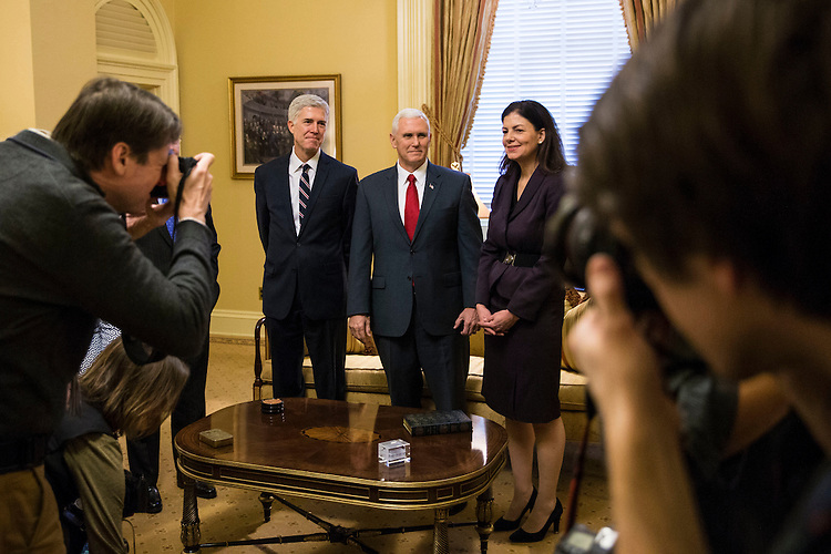 Senate Majority Leader Mitch McConnell of Kentucky, Supreme Court Nominee Judge Neil Gorsuch, Vice President Mike Pence, and former Sen. Kelly Ayotte (R-N.H.), meet on Capitol Hill, in Washington, Feb. 1, 2017. (Al Drago/Pool/The New York Times)