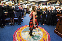 TALLAHASSEE, FLA. 1/12/16-Jacqueline Galvano, daughter of Sen. Bill Galvano, R-Bradenton, basks in applause after singing the National Anthem during the opening day of the 2016 legislative session, Tuesday at the Capitol in Tallahassee.<br /> <br /> COLIN HACKLEY PHOTO