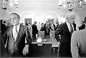 "United States Senate Majority Leader George Mitchell (Democrat of Maine), far left, and United States Speaker of the House Tom Foley (Democrat of Washington) have discussions in the Cabinet Room of the White House in Washington, D.C. on Wednesday, June 30, 1993.  In the background United States House Majority Leader Dick Gephardt (Democrat of Missouri) is speaking with White House Chief of Staff Thomas ""Mac"" McLarty and United States President Bill Clinton is conferring with United States Senate Minority Leader Bob Dole (Republican of Kansas) and United States House Minority Leader Newt Gingrich (Republican of Georgia)..Credit: White House via CNP"