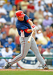 12 March 2008: Washington Nationals' infielder Matt Whitney hits a standup double during a Spring Training game against the Los Angeles Dodgers at Holman Stadium, in Vero Beach, Florida. The Nationals defeated the Dodgers 10-4 at the historic Dodgertown ballpark. 2008 marks the final season of Spring Training at Dodgertown for the Dodgers, as the team will move to new training facilities in Arizona starting in 2009 after 60 years in Florida...Mandatory Photo Credit: Ed Wolfstein Photo
