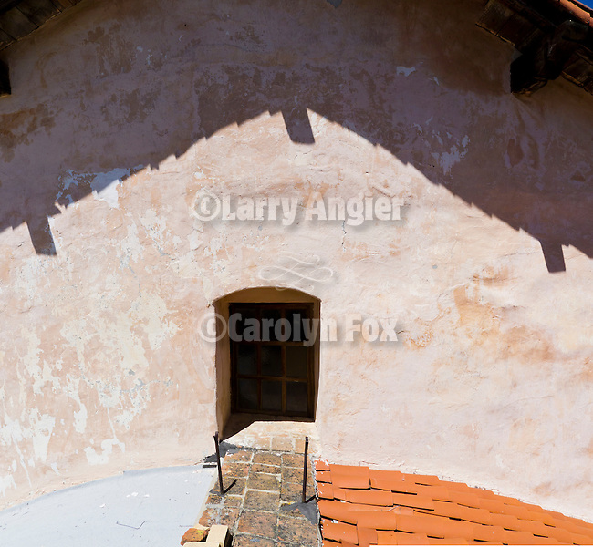 Doorway to the roof at the front of the chapel, Mission San Antonio de Padua, California.