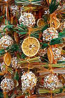 Christmas decorations on the market stalls - Saltzburgh Christmas market - Austria