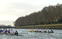 Putney, London.  Pre Varsity Boat race fixture. The crews take the first strokes off the Start, Cambridge UBC. [Blue Boat] vs GBR U23 crew raced over parts of the Championship Course, [Putney to Mortlake].  Race divided into two trials. 1. Start to Hammersmith Pier. 2. Chiswick Eyot to Finish. River Thames. Saturday   26/02/2011 [Mandatory Credit -Karon Phillips/Intersport Images]..Crews:.CAMBRIDGE [Blue Boat] Bow,  Mike THORP, Joel JENNINGS,  Dan RIX-STANDING,  Hardy CUBASCH,  George NASH,  Geoff ROTH , Derek RASMUSSEN, Stroke David NELSON and Cox Tom FIELDMAN..GB Under-23s Bow, Oliver STAITE, Jack CADMAN,  Alex TORBICA, Alex DAVIDSON, Matt TARRANT, Ertan HAZINE,  Mason DURANT,  Stroke Scott DURANT and Cox Max GANDER .