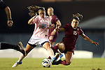 27 September 2012: UNC's Maria Lubrano (91) and Florida State's Tiana Brockway (15). The University of North Carolina Tar Heels played the Florida State University Seminoles at Fetzer Field in Chapel Hill, North Carolina in a 2012 NCAA Division I Women's Soccer game. Florida State won the game 1-0.