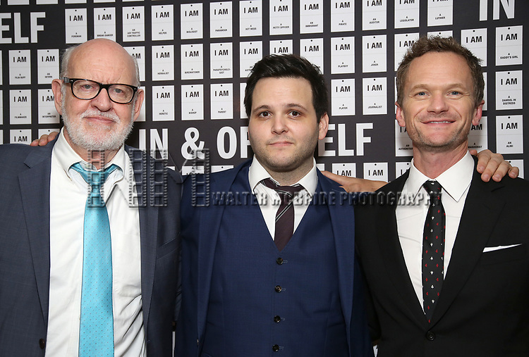 Frank Oz, Derek DelGaudio and Neil Patrick Harris attend the Opening Night after party for 'In & Of Itself' at ACE Hotel on April 12, 2017 in New York City.