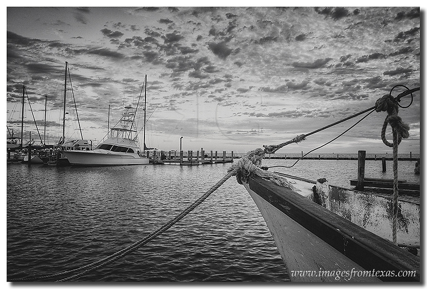 Rockport Harbor comes alive inthe morning as the shrimp boats return from their hunt. The boats along this Texas coast rock and churn with the early waves even as they are somewhat protected in this cove. Earlly morning shows the clouds scattered across the horizon in this Texas coast image.