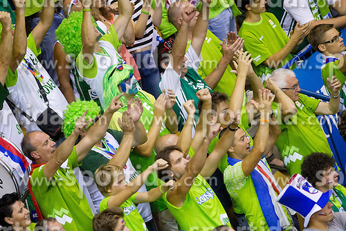 Fans during basketball match between National teams of Slovenia and Croatia in Round 1 at Day 5 of Eurobasket 2013 on September 8, 2013 in Arena Zlatorog, Celje, Slovenia. (Photo by Vid Ponikvar / Sportida.com)
