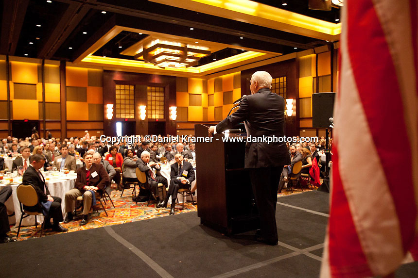 Former Defense Secretary Robert Gates speaks at a World Affairs Council event at the Hilton of the Americas in Houston, Texas on Jan. 28, 2016.