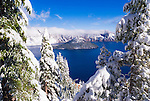Crater Lake and Wizard Island in winter (Deepest lake in the US), Crater Lake National Park, Oregon USA