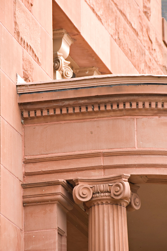 Architectural detail of the Marquette Country Courthouse in downtown Marquette Michigan.
