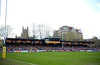 A general view of the West Stand of the Recreation Ground. Aviva Premiership match, between Bath Rugby and Sale Sharks on April 23, 2016 at the Recreation Ground in Bath, England. Photo by: Patrick Khachfe / Onside Images