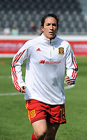 20170408 - EUPEN ,  BELGIUM : Spanish Silvia Meseguer  pictured during the female soccer game between the Belgian Red Flames and Spain , a friendly game before the European Championship in The Netherlands 2017  , Saturday 8 th April 2017 at Stadion Kehrweg  in Eupen , Belgium. PHOTO SPORTPIX.BE | DIRK VUYLSTEKE