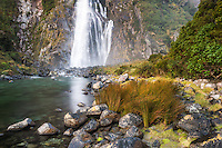 Bowen Falls in Milford Sound, Fiordland National Park, Southland, UNESCO World Heritage Area, New Zealand, NZ