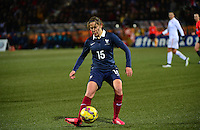 Lorient, France. - Sunday, February 8, 2015:  Elise Bussaglia (15) of France. France defeated the USWNT 2-0 during an international friendly at the Stade du Moustoir.