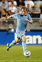 Seth Sinovic (16) defender Sporting KC in acrion... Sporting Kansas City defeated Portland Timbers 3-1 at LIVESTRONG Sporting Park, Kansas City, Kansas.