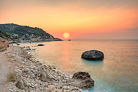 The sunset at the famous village Agios Nikitas in Lefkada, Greece