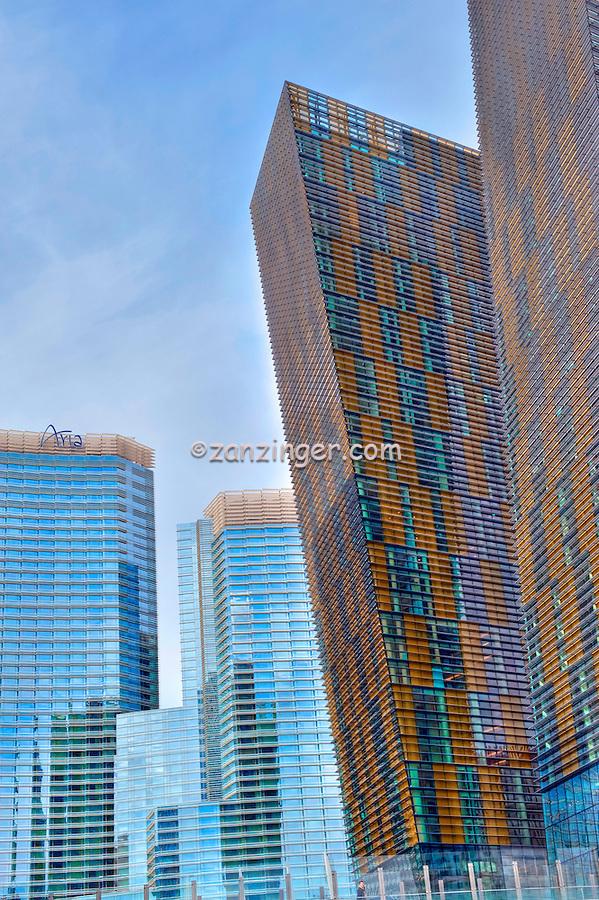 Aria Hotel Casino Resort, Veer Towers, CityCenter Las Vegas NV; Nevada; Resort Hotel, Hospitality, Strip; shopping, Sunrise, Blue Sky, Travel, Destination, View, Unique, Quality HDR