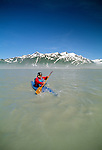 Kayaker on Alsek River, St. Elias Mountains, Alaska