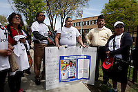 Newark, USA. 07th May 2014. Residentes attend a attend an action calling for end to deportations outside a detention center office in New Jersey. Kena Betancur/VIEWpress