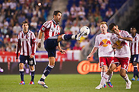 Juan Pablo Angel (9) of CD Chivas USA plays the ball. The New York Red Bulls and CD Chivas USA played to a 1-1 tie during a Major League Soccer (MLS) match at Red Bull Arena in Harrison, NJ, on May 23, 2012.